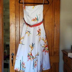 Eva Mendes Strapless flowered midi dress